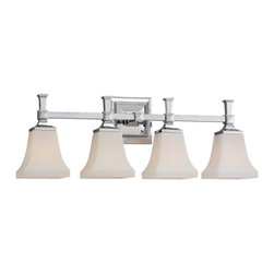 Sea Gull Lighting - Sea Gull Lighting Melody Transitional Bathroom / Vanity Light X-50-80744 - A beautiful style for the bath, Melody rings richly in a chrome or brushed nickel finish with opal etched glass - a combination to complement plumbing fixtures. Can be mounted up or down.