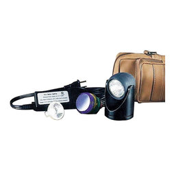 """Renovators Supply - Halogen Spot Lights Black w/5 Colored Lenses 2"""" H Halogen Light - Halogen Lights. What an idea! Tiny waterproof halogen lamp puts fish tank, fountain, plants or bookcase in the spotlight. 1 1/8 inch diameter, 2 inches high with 12 volts. MR-11 bulb; 10 foot power chord and 4 colored lenses included. Lenses include clear, gold, red, green and blue. UL approved."""