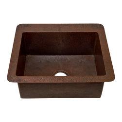 "Artesano Copper Sinks - Undemount Kitchen Copper Sink - Single Basin - Undemount Kitchen Copper Sink - Single Basin - 25 x 22 x 9.5"" - Rim 2"" - Inside 21 x 16 x 9"" - Drain 3.5"""