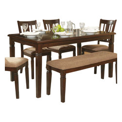 Homelegance - Homelegance Devlin Rectangular Dining Table in Espresso - The Devlin Collection offers the classic look of transitional styling with a nod to the Arts & Craft movement all in a well appointed 6 piece group. Neutral tone fabric covers the seats of the chairs and bench in the espresso finished collection. Notch accent completes the look of the collection.