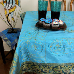 """Unique & DecorativeTablecloths - Gorgeous """"Ocean Blue"""" Ornamental Embroidered square tablecloth. Elegant Indian hand crafted design. Dupion silk fabric. Available in 45x45in and 45x90in"""