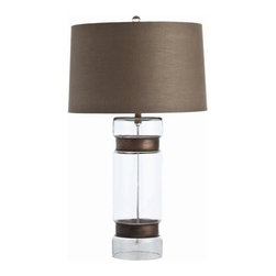 Arteriors - Arteriors Garrison Cylinder Vintage Brass Glass Lamp - Clear glass cylinder table lamp is cinched with a pair of iron rings in vintage brass finish. Topped with a mushroom brown linen drum shade with sesame cotton lining. 3-way switch.