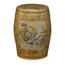 China Furniture and Arts - Satsuma Design Porcelain Garden Stool - Elaborately enameled, gilded, and hand painted in golden Satsuma style, the traditional garden stool is transformed into a work of art. With elegant silhouette and graceful design, it is perfect as a garden stool as well as an end table to display a sculpture or plant. Imported.