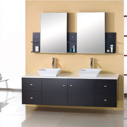"""60"""" Solid Oak Double Sink Vanity - Dark Espresso ag-x013 - Transform your bathroom with the sleek, contemporary styling of this vanity set. This wall-mount double sink vanity features a solid oak base and white macrolite stone counter top."""
