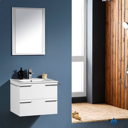 "Fresca - Fresca Cielo White 24"" Modern Bathroom Vanity - The Fresca Adour bathroom vanity comes complete with an above-counter porcelain vessel sink, perfect for creating a cutting edge yet timeless aesthetic. Elongated, oversized hardware in solid brass with a chrome finish add to its hip appearance and round out its bold and modern look."
