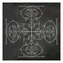 """Suzanne Powers - Chalkboard Architectural Cross, 30"""" X 30"""" - An architectural detail forming a subtle cross on a chalkboard in black and white goes well with the rustic and eclectic styles.  Classical lines have been around for centuries and go with any style from industrial to traditional adding a contemporary twist."""