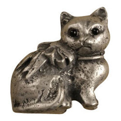 Anne at Home Hardware - Sitting Kitty Knob, Pewter w/ White Wash - Made in the USA - Anne at Home customized cabinet hardware enables even the most discriminating homeowner to achieve the look of their dreams.  Because Anne at Home cabinet hardware is designed to meet your preferences, it may take up to 3-4 weeks to arrive at your door. But don't let that stop you - having customized Anne at Home cabinet knobs and pulls are well worth the wait!   - Available in many finishes.