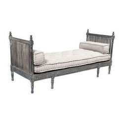 Wooden Carved Daybed - Go boho-chic or go home! This intricately carved daybed washed in a charcoal grey includes linen and cotton tufted cushions in a soft sandy hue. Pile this lady high with ikat or leave her solo as is. Regardless, this piece is timeless and absolutely gorgeous. Originally purchased at HD Buttercup in San Francisco.