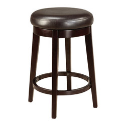 Standard Furniture - Standard Furniture Smart Stools Round Stool w/ Brown Leatherette Seat - 24 Inch - Smart stools, like their name says, are smart additions to any kitchen or casual dining space offering compact and versatile seating options.