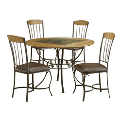 Hillsdale - Hillsdale Lakeview 5-Piece Round Dining Set with Wood Chairs in Brown - Hillsdale - Dining Sets - 4264DTBRDCW - Rustic textures and colors combine to create Hillsdale Furniture's Lakeview dining collection. Boasting a striking fusion of medium oak wood, coppery brown metal, and a dynamic slate inlay in the center of the table, this group also features many options to customize your own ensemble, from a wood top chair or baker rack to a slate topped chair or baker rack with a diamond motif and a rectangle rounded edge or round table. Boasting easy to maintain and versatile brown faux leather seats, a pretty scrolled chair, and a rounded table bases with corresponding slate accents. This unusual ensemble also includes a coordinating sideboard or wine bar and matching 360 degree swivel bar and counter stools. Composed of heavy gauge tubular steel, solid wood edges, climate controlled wood composites and veneers, this unique group is a perfect addition to your home.