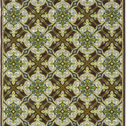 """Grandin Road - Cayman Morocco Outdoor Rug - 2'3"""" x 7'6"""" - Revolutionary flat-weave construction. 100% polypropylene fibers shrug off the elements. Indoor/outdoor versatility. Simply rinse clean with a hose. With our Cayman Morocco Outdoor Rug you can achieve the perfect balance of high style and high durability. This quick-drying, soft loop rug is perfect outdoors or in a high-traffic area inside your home. Inspired by Moroccan tile motifs, this intricate display of lime green, ivory, and chocolate is accented with pops of Mediterranean blue.. . . . Imported."""