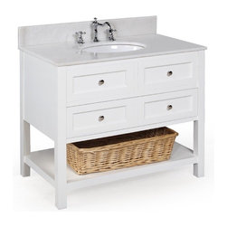 Kitchen Bath Collection - New Yorker 36-in Bath Vanity (White/White) - This bathroom vanity set by Kitchen Bath Collection includes a white cabinet with soft-close drawer, white marble countertop, undermount ceramic sink, pop-up drain, and P-trap. Order now and we will include the pictured three-hole faucet and a matching backsplash as a free gift! All vanities come fully assembled by the manufacturer, with countertop & sink pre-installed.