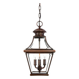 Cambridge - Carleton Medium 3-light Aged Copper Hanging Lantern - The historical design of the Carleton outdoor light will bring a handsome colonial appeal to your home. The antique solid copper finish adorns a square tapered frame with a curved top to eloquently display the clear beveled glass for an elegant touch.