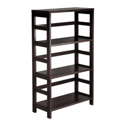 Winsomewood - Leo Shelf / Storage, Book, 3-Tier Wide - Its three sections hold the Espresso Large Storage Basket or two small Storage Baskets perfectly. Mix and match with the other Espresso Storage Shelves, both narrow and wide.