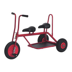 Italtrike Carry Large Trike for Two - If you live in an open modern dwelling and want to allow your child the freedom to roam on wheels, consider this two-seater tricycle. Sleek and slender, this commercial-grade steel ride comes in classic red. Recommended for children under nine.