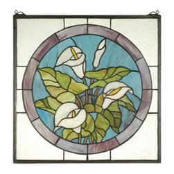 """Meyda - 20""""W X 20""""H Calla Lily Stained Glass Window - A bouquet of pure white calla lilies with bronzedgreen leaves are the centerpiece of this plum touchedmidnight blue circle framed in clear seedy glass. Thismeyda tiffany original window is handcrafted utilizingthe copperfoil construction process and 123 pieces ofstained art glass encased in a solid brass frame.mounting bracket and jack chain included."""