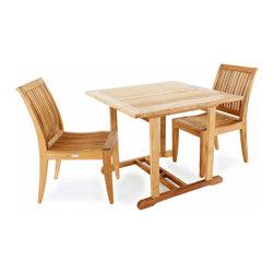 Westminster Teak Furniture - 3pc Laguna Teak Dinette Set - 3pc Laguna Square Teak Dinette Set.  Lifetime Warranty.