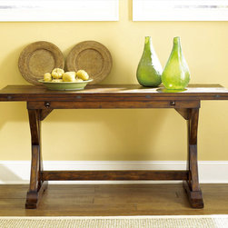 """Hammary - Hidden Treasures Flip Top Console Table - Hammary's Hidden Treasures collection is a fine assortment of unique accent pieces inspired by some of the greatest designs the world over. Each selection is rich in Old World icons and traditions. Every piece in this collection is crafted with the upmost attention to fine details. Each item is a work of art from brass nailhead trim and exquisite hand-painting to elegant shaping and decorative trim. Wide varieties of materials are used to create a perfect look and fine quality which includes exotic woods, leather, and stone to raffia and glass. The wide variety of finishes, hardware, beautiful carvings and other final touches offer unmatched versatility for any room in your home. Hidden Treasures features cocktail tables, occasional and accent pieces, trunks, chests, consoles, wine racks, desks, entertainment units and interesting storage pieces. Place one in a comfortable reading nook. . . in the family room for flair and variety. . . in the foyer for a welcome look. . . in a bedroom for a cozy style. . . or in the office for function and versatility. The pieces in this collection mix beautifully with any decorating style and will easily become the focal point in any setting.; Hidden Treasures Collection; Finish:; Rustic Finish; Pull-Out Wood Supports hold Fold-out Top in Open Positions; Pine Solids and Veneers; Closed: W64 D18 H31; Open: W64 D36 H30; Weight: 122 lbs.; Some assembly required; Dimensions: 64""""W x 18""""D x 31""""H"""