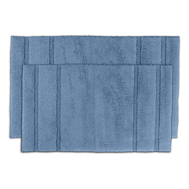 None - Tranquility Cotton Sky Blue Bath Mat 2-piece Set - Create a tranquil setting in the bath or shower with the Tranquil Cotton collection of bath runners and rugs composed of a short,soft loop pile made of 100-percent cotton. Two sky blue machine washable bath rugs are included in this set.
