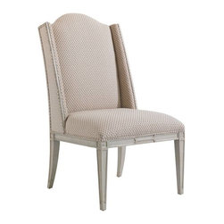 Stanley Furniture - Charleston Regency-Ashley Host Chair - A shallow shelter back bordered in our Gray Linen finish frames the Petite Braided Trellis fabric of the Ashley Host Chair.