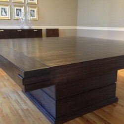 Dining Room Table - A water-based dye stain penetrates deep into the wood, creating a very dark finish without completely obscuring the grain & tones of the natural sapele.