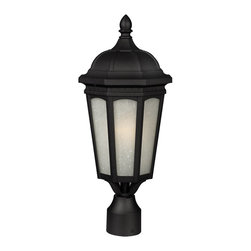 Z-Lite - Z-Lite Newport Outdoor X-KB-MHP805 - Contemporary yet elegant, this medium outdoor post head is inspired by traditional octagonal lanterns but with a modern construction. White seedy glass panels are paired with a sleek black finish, and this fixture is made of cast aluminum in order to endure all seasons.