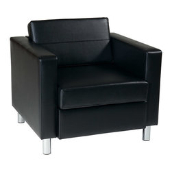 Office Star - Office Star Avenue Six Pacific Arm Chair in Black Faux Leather / Vinyl Fabric - Pacific arm chair in black faux leather / vinyl fabric