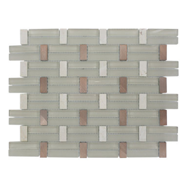 "Trestle Sandy Ridge Tile - TRESTLE SANDY RIDGE TILE Whether using this stunning tile as a backsplash, wall, or as an accent piece, the polished and frosted cream glass, crema marfil and metal copper will bring a modern and contemporary ambience to the room. Add a pop to any room with these beautiful tiles that are versatile; great to use for a backsplash. Chip Size: 0.59"" x 1.25""/2.51"" Color: Cream and Copper Material: Glass, Crema Marfil and Metal Copper Finish: Polished, Frosted and Matte Sold by the Sheet - each sheet measures 14"" x 11"" (1.07 sq. ft.) Thickness: 8mm"