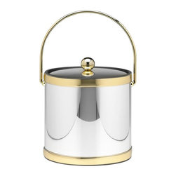 Kraftware - Mylar Ice Bucket in Polished Chrome and Brass w Bands - Bale handle. Metal cover. 3 quart ice bucket. Made in USA. 9 in. Dia. x 9 in. H (3 lbs.)Kraftware's Mylars bring the look of Metal at Vinyl prices. Great value, Great looks, and Great Entertaining sum up the Mylar Collection.