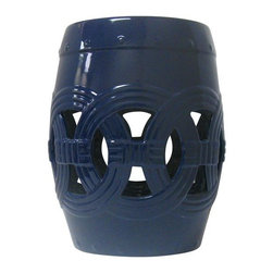 Belle & June - Circle of Life Garden Stool, Navy Blue - This circle of life garden stool will add depth and unique style to any room in your home. Try placing this larger scale piece in an empty corner as a way to draw the eye outward or use it as a unique side table or base for a fabulous lamp.