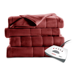 Sunbeam - Sunbeam Twin-size Garnet Square Quilted Heated Blanket - Add extra warmth to your bedding with this twin-size heated blanket from Sunbeam. Available in a rich garnet color,this ten-setting heated blanket features a ten hour automatic shut-off to keep you warm all night long.