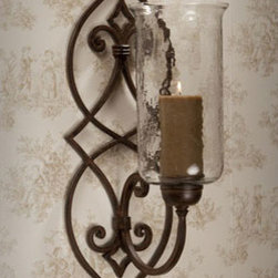 Dessau Home - Bronze Iron Scroll Candle Sconce with Hammered Globe - - 32H 9.5W 11D   - Please note - candle not included - Accessories not included Dessau Home - ME2249