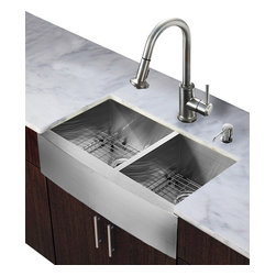 Vigo Industries - Double Bowl Kitchen Sink and Faucet Set - Includes apron front double bowl sink, faucet, soap dispenser, two bottom grids, two strainers, all mounting hardware and hot-cold waterlines.