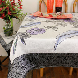 "Unique & Decorative Tablecloths - Gorgeous ""Mystic Crystal"" Square Tablecloth. Painted by hand in India. Dupion Silk fabric. Available in 45x45in, 45x90in, and 54x110in."
