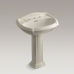 """KOHLER - KOHLER Portrait(R) pedestal bathroom sink with 8"""" widespread faucet holes - The Portrait collection captures the understated sophistication of French Provincial design, yet is versatile enough to fit many bathroom styles. The sculpted lines and soft edges of this Portrait pedestal sink reflect the classic contours found in traditional furniture. An integral backsplash protects the wall from water and adds a distinctive accent."""