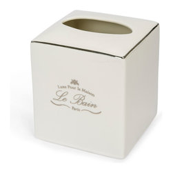Kassatex - Kassatex Le Bain Collection Tissue Holder - Let your tissue box play dress-up in this porcelain, Parisian-inspired holder. It may forget its humble beginnings and take its rightful place as star on your bathroom counter.