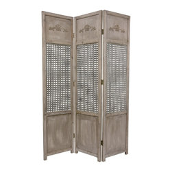 Oriental Furniture - 6 ft. Tall Open Mesh Room Divider - This distressed wood and metal room divider is perfect for adding a distinctive, urban accent to lofts, studios, or professional offices. Each panel of this sturdy, solid wood divider sports a bas relief at the top, a textured metal lattice in the middle, and a practical kick plate at the bottom.