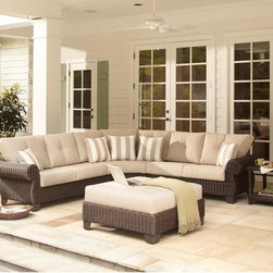 Hampton Bay Mill Valley 4-Piece Patio Sectional Seating Set - I love this oversize outdoor sectional lounger. I could just picture myself relaxing out here with a cup of iced tea and a good book.