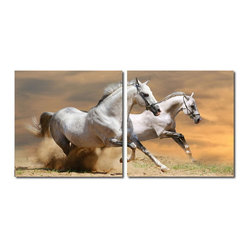 Baxton Studio - Baxton Studio Galloping Grandeur Mounted Photography Print Diptych - A pair of equine comrades flies through the dust, displaying sheer power and majesty. This striking modern photograph is printed in two halves on waterproof vinyl canvas before being mounted to MDF wood frames. The modern wall art diptych is made in China, is ready to hang, and is fully assembled. Hardware for hanging on the wall of your choice is not supplied. To clean, wipe with a dry cloth.