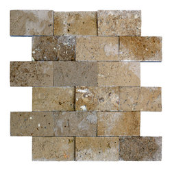 STONE TILE US - Stonetileus 4 pieces (4 Sq.ft) of Mosaic Noce 2x4 Split Face - STONE TILE US - Mosaic Tile - Noce 2x4 Split Face Coverage: 1 Sq.ft size: 2x4 - 1 Sq.ft/Sheet Piece per Sheet : 18 pc(s) Tile size: 2x4 Sheet mount:Meshed back Stone tiles have natural variations therefore color may vary between tiles. This tile contains mixture of light brown - dark brown - and color movement expectation of low variation, The beauty of this natural stone Mosaic comes with the convenience of high quality and easy installation advantage. This tile has Split Face surface, and this makes them ideal for walls, kitchen, bathroom, outdoor, Sheets are curved on all four sides, allowing them to fit together to produce a seamless surface area. Recommended use: Indoor - Outdoor - High traffic - Low traffic - Recommended areas: Noce 2x4 Split Face tile ideal for walls, kitchen, bathroom, Free shipping.. Set of 4 pieces, Covers 4 sq.ft.