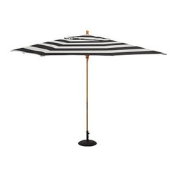 Rectangular Umbrella with Teak Pole, Sunbrella(R) Awning Stripe, Black/White - Create a shady retreat during the warm summer months with our Sunbrella(R) Rectangular Umbrella, designed to withstand years of normal exposure to sunlight and rain. Choose from our three types of poles to help you complement outdoor furnishings. 9.8' wide x 6.5' deep x 8.5' high Choose eucalyptus, teak or aluminum pole. Wood pole is crafted from eucalyptus or premium teak, and features an easy-to-use pulley system, and three positions for the galvanized-metal locking pin that keeps the umbrella open. Sturdy aluminum pole in bronze finish has an easy-turn crank handle and tilt function. Canopy features a tie for closure. Solution-dyed fabric is breathable yet water-repellent, and is oil and stain resistant. Fabric has been awarded the Seal of Recommendation by the Skin Cancer Foundation. Designed to fit any Pottery Barn outdoor dining table that accommodates an umbrella. Please check umbrella pole diameter if using with other tables. Pottery Barn Umbrella Stand (sold separately) can be used with any of our umbrellas for added stability. Sunbrella(R) is a registered trademark of Glen Raven, Inc. Simple assembly. Imported. View our {{link path='pages/popups/fb-outdoor.html' class='popup' width='480' height='300'}}Furniture Brochure{{/link}}.
