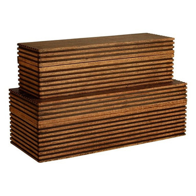 Arteriors - Trinity Boxes, Set of 2 - Stop surface clutter from dueling with your decor. Store everyday necessities in these lovely, linear wooden boxes. They are handsome enough to display anywhere — in the bathroom, bedroom or living room; on a counter, dresser or console.