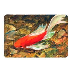 Caroline's Treasures - Fish - Koi Kitchen or Bath Mat 24 x 36 - Kitchen or Bath Comfort Floor Mat This mat is 24 inch by 36 inch. Comfort Mat / Carpet / Rug that is Made and Printed in the USA. A foam cushion is attached to the bottom of the mat for comfort when standing. The mat has been permanently dyed for moderate traffic. Durable and fade resistant. The back of the mat is rubber backed to keep the mat from slipping on a smooth floor. Use pressure and water from garden hose or power washer to clean the mat. Vacuuming only with the hard wood floor setting, as to not pull up the knap of the felt. Avoid soap or cleaner that produces suds when cleaning. It will be difficult to get the suds out of the mat.