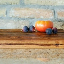Large Farmhouse Cutting Board with Iron Handles - Made of 19th century timber wood, and hand finished with organic oil, our French farmhouse cutting board suggests the simplicity of an earlier time.