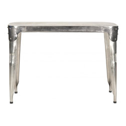 Safavieh - Classic Iron Console Table - The industrial-chic Classic iron console table by Safavieh will brighten an entry hall or living room with an air of masculine sophistication. Crafted of by metal artisans, each one of a kind console is beautifully detailed with riveted corner patches.