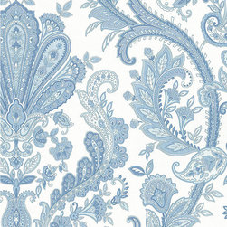 Large Blue and White Paisley - MD29431 - Collection:Silk Impressions