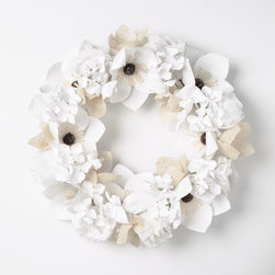Paper Flower Wreath - This great wreath is neutral enough to go with any decor. The paper flowers add a charm that will be noticed by all.