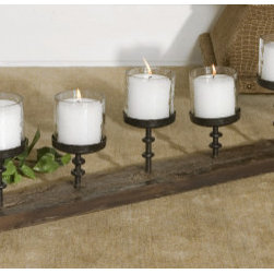 Candle Decoratives - Asher Home Decorators:Are you looking for low cost but rare to find elsewhere decor items to brighten up prominent spaces of your house or office to celebrate Christmas time in style? Land at Wildorchidquilts.net, US based leading home decor store. This home decor trend setter store is popularly known for offering wide range of candle stands that are much more than being just the candle holders. Its rustic and antique look makes it special. 19405 Ascan Candelabra is the latest arrival in this exclusive collection. Ascan Candelabra with six clear glass cylindrical candle cups is a perfect Christmas decor item made of rustic, antiqued black artistically carved cast iron supports fixed over a natural and old wood base. Dimensions: 32 W X 10 H X 5 D (in) Weight (lbs): 20 White candle included; Can be placed anywhere, Stable base, Perfect Christmas gift