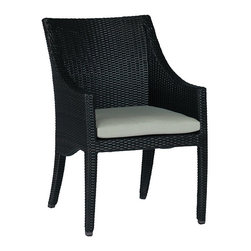 Frontgate - Athena Dining Arm Chair with Cushion - Ideal for any environment, including oceanfront and saltwater destinations. Smoothly woven of UV-resistant high-quality wicker. Hand-welded, durable aluminum frame. Generously proportioned frame accommodates a plush outdoor cushion. Cushion covered in exclusive solution-dyed fabrics, created using only the finest materials and technology for longevity outdoors, including Sunbrella&reg. The Athena Dining Arm Chair by Summer Classics&reg brings graceful beauty to any outdoor space with its curved and elegant design. high-quality resin wicker is expertly hand-woven over durable aluminum frames to create the smooth lines of the exquisite Athena Collection. The innovative materials create the perfect dining arm chair for any open air setting, including beach and salt water environments.  . . .  . . Note: Due to the custom-made nature of the cushions, any fabric changes or cancellations to the Athena Collection must be made within 24 hours of ordering.