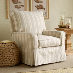 Kylie Chair - Add some tailored comfort to your home with this slipcovered swivel glider armchair.